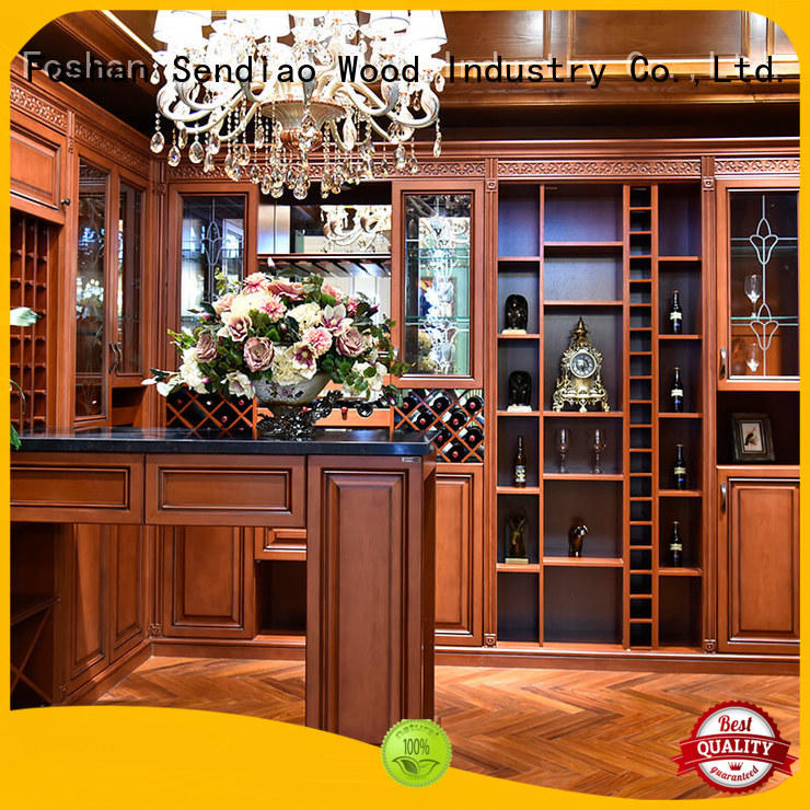 sdwi04 wood wine rack cabinet oak A living room Sendiao Furniture