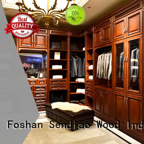 solid syle modular Sendiao Furniture Brand wooden wardrobe with mirror factory