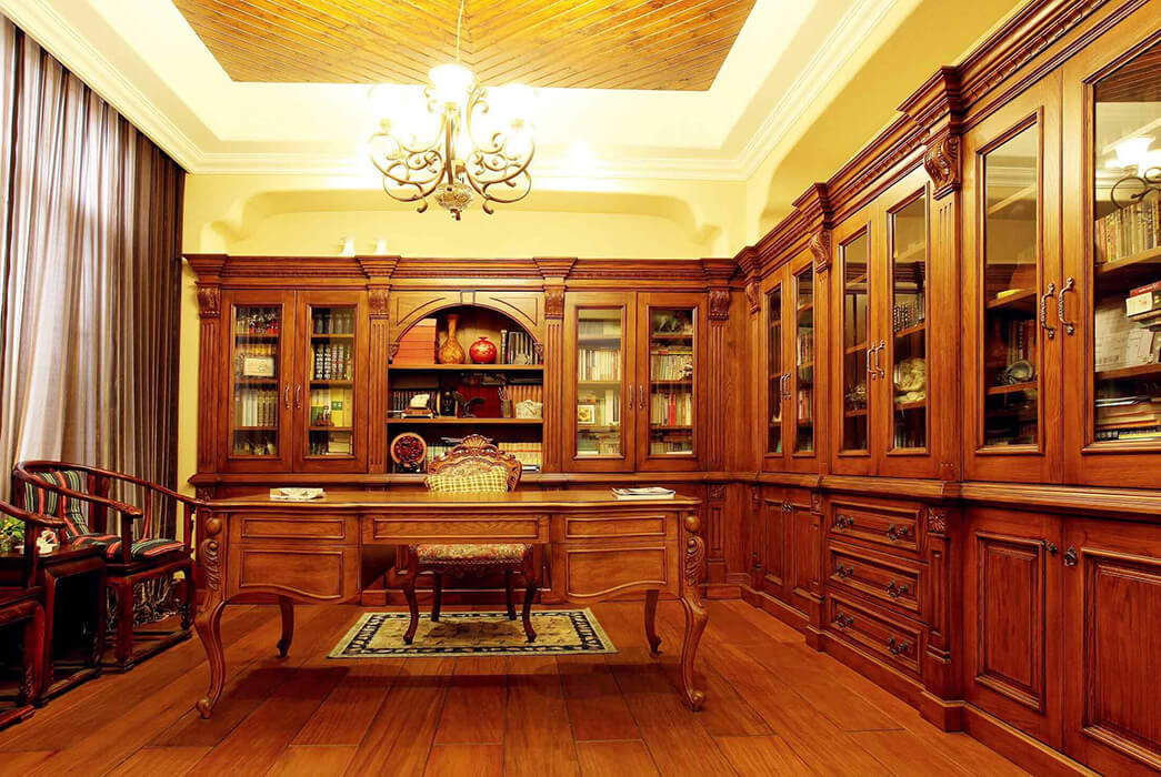 classical solid wood bookcases combination manufacturers exhibition hall-3