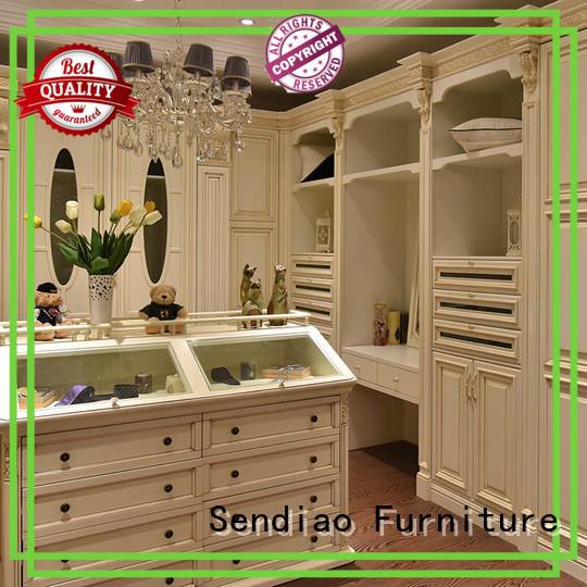 Wholesale wooden wooden wardrobe with mirror wardrobe Sendiao Furniture Brand