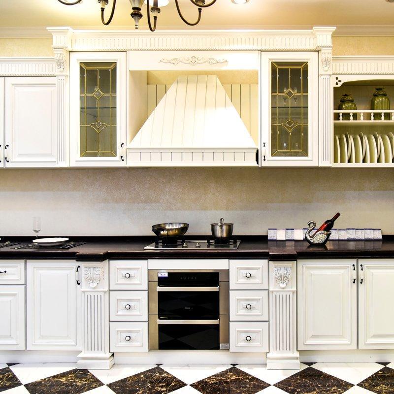 Modern wooden white freedom solid wood kitchen cabinets SDK01