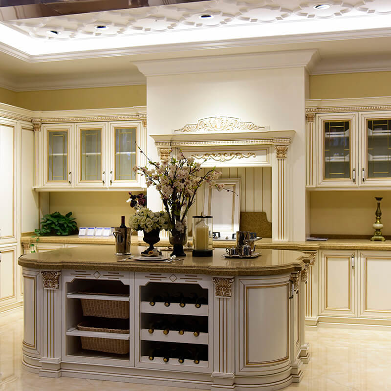 Modern wooden white freedom solid wood kitchen cabinets SDK03