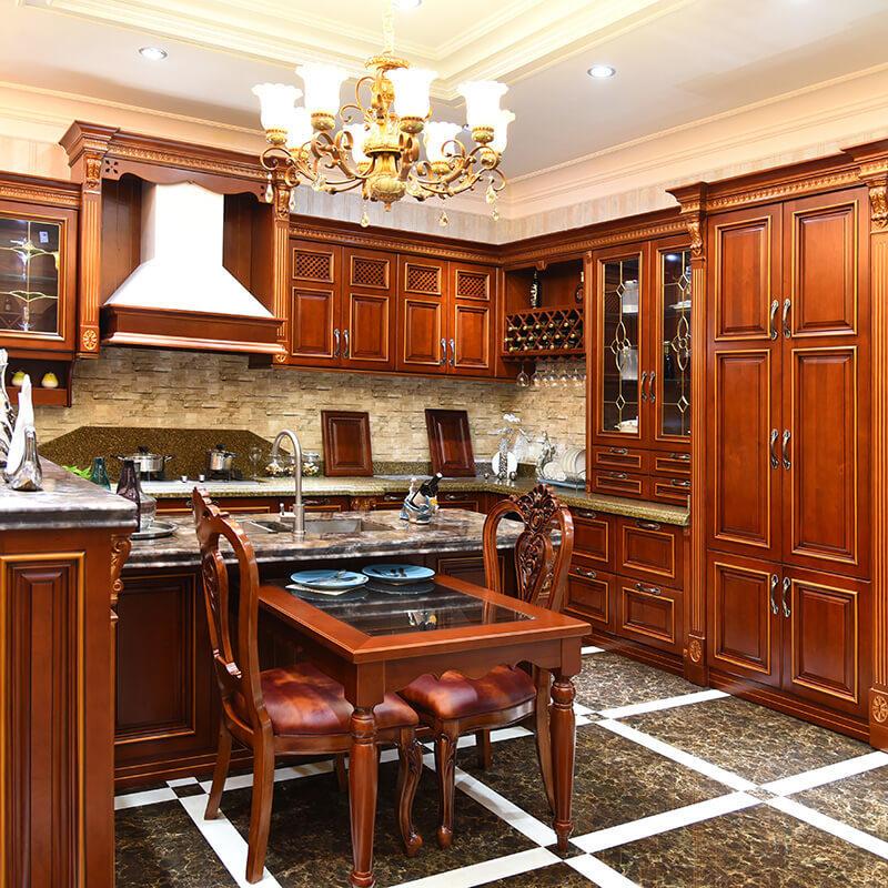 luxury modular artificial quartz solid wood kitchen cabinet furniture SDK04