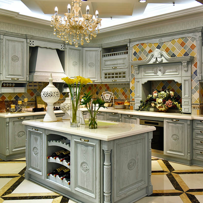 High quality grey color solid wood kitchen cabinet with free 3D design SDK05  factory&manufacturer&supplier