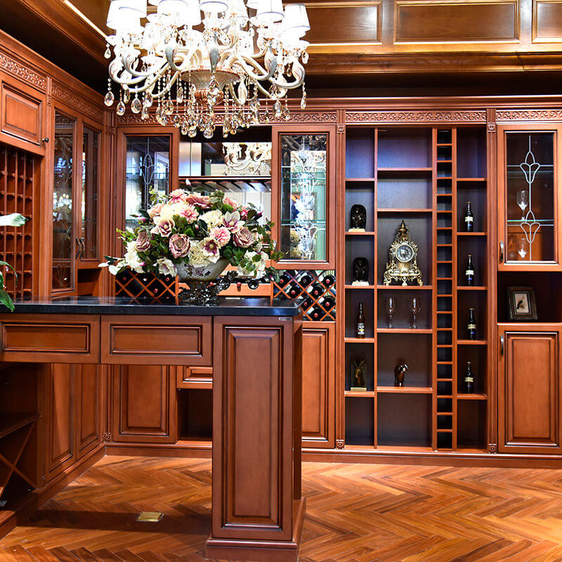 Customize classic solid wood kitchen cabinet with wine rack SDWI02