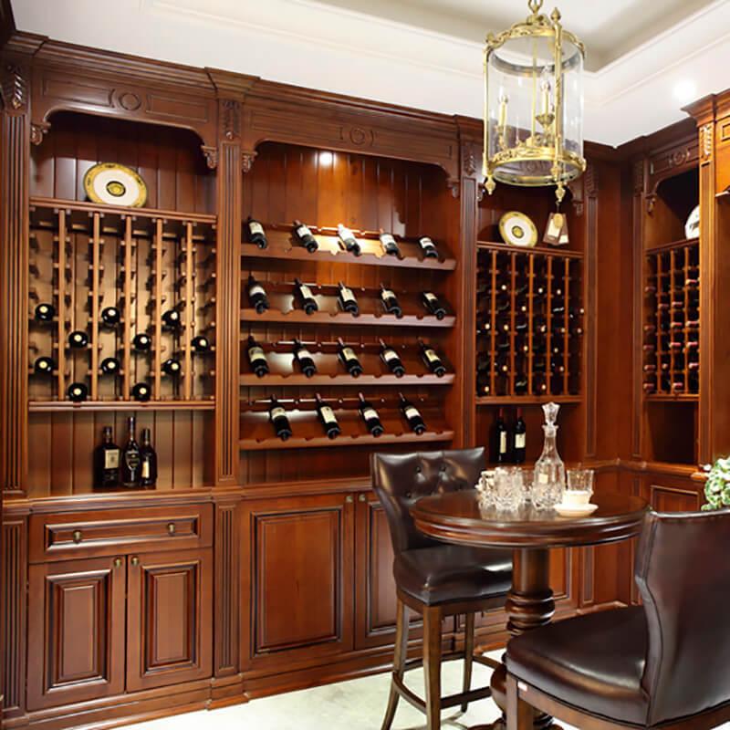 Luxury European solid wooden furniture wine storage cabinet SDWI04