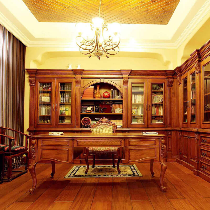 Advanced hand-carved furniture, study cabinet, living room cabinet, solid wood three-piece set SDB03