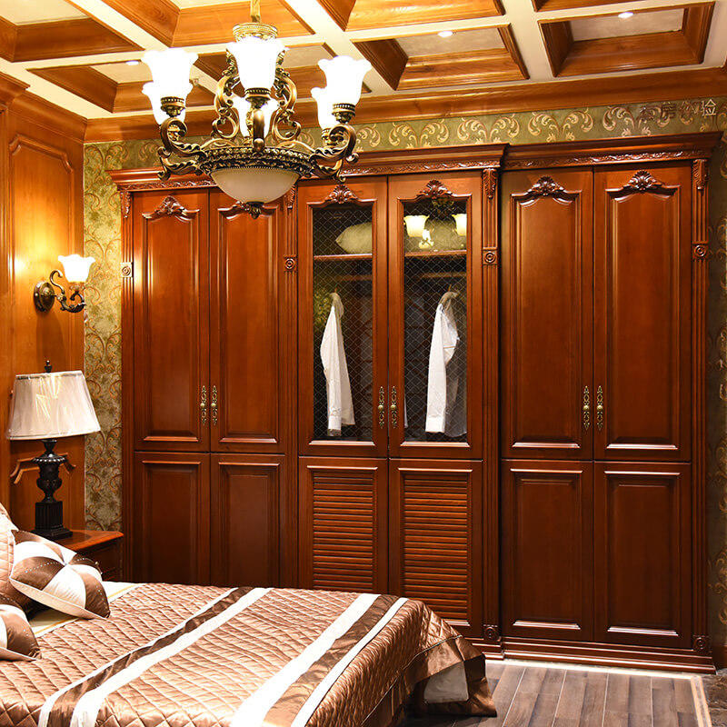 Foshan manufacture luxury solid wood bedroom joinery wardrobe SDW02