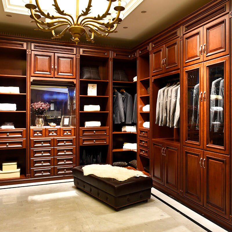 Foshan manufacture luxury solid wood bedroom joinery wardrobe SDW03