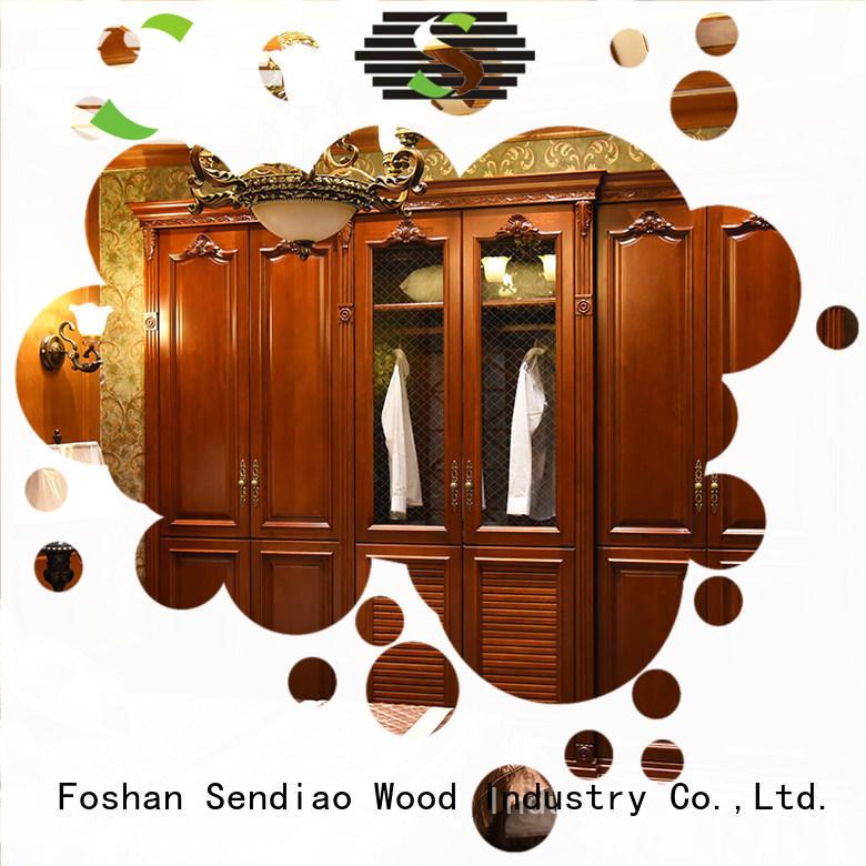 Sendiao Furniture luxury wooden clothes wardrobe Supply fivestar hotel