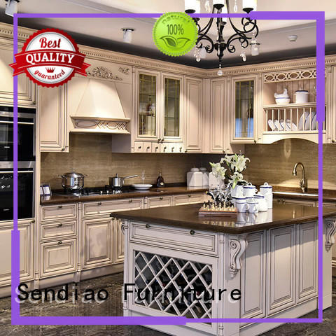 solid wood kitchen cupboards style Three-star Hotel Sendiao Furniture