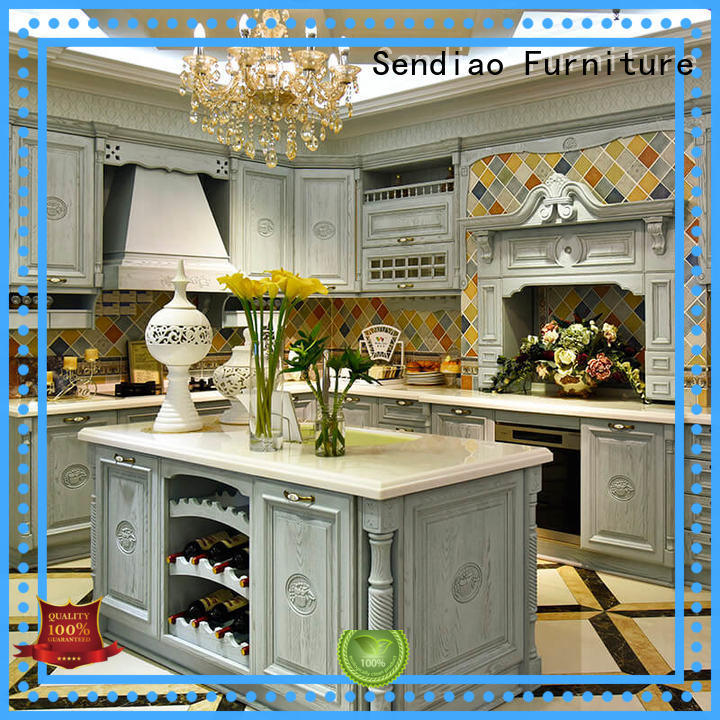 Sendiao Furniture Simplicity oak wood kitchen cabinets quartz Four Star Hotel