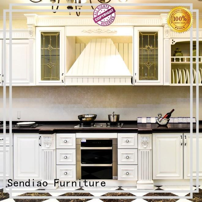 Sendiao Furniture classical solid wood kitchen cabinets supply chateau