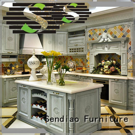 Sendiao Furniture fashion solid wood kitchen cabinets for business three-star hotel