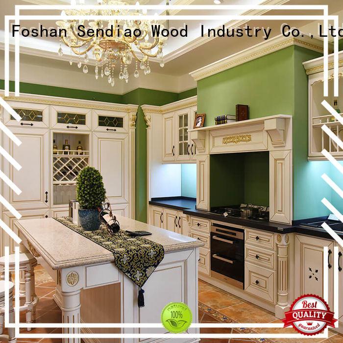 solid modern wood kitchen cherry kitchen cabinets Sendiao Furniture Brand