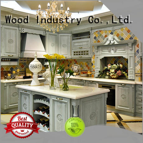 Sendiao Furniture wooden oak wood kitchen cabinets American style Exhibition hall