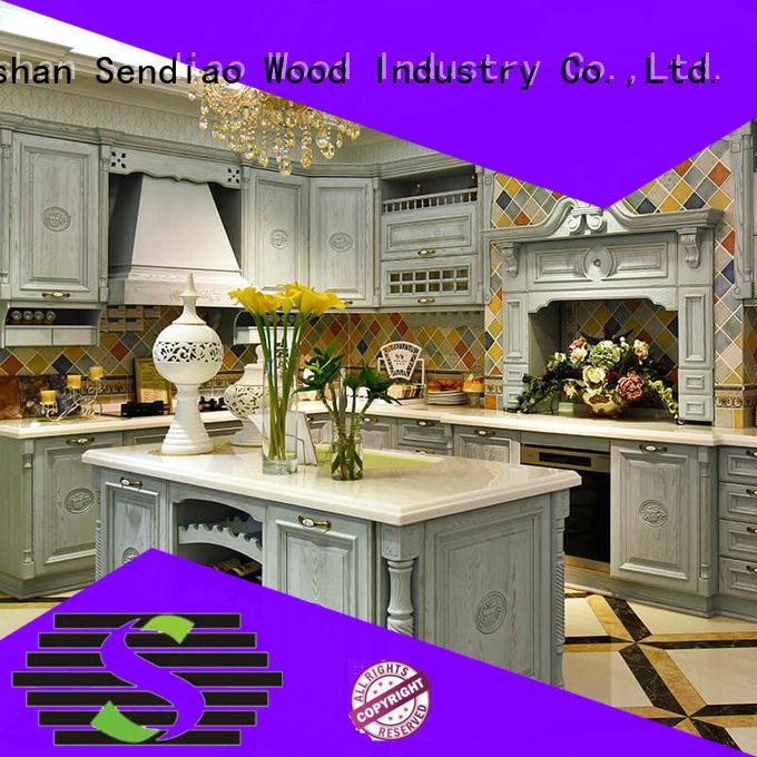 oak wood kitchen cabinets sdk05 Fivestar Hotel Sendiao Furniture