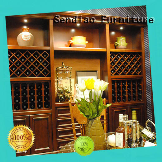 New wood wine rack cabinet red factory three-star hotel