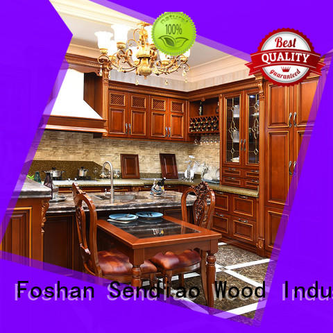 classical oak wood kitchen cabinets New products Four Star Hotel Sendiao Furniture