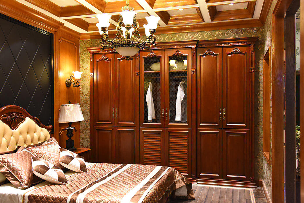 American style wood armoire wardrobe wood factory four-star hotel-2