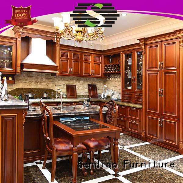 Latest custom wood kitchen cabinets sdk08 company exhibition hall