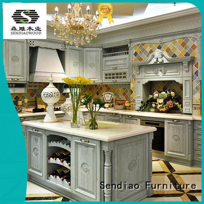 oak kitchen cabinets sdk07 Exhibition hall Sendiao Furniture