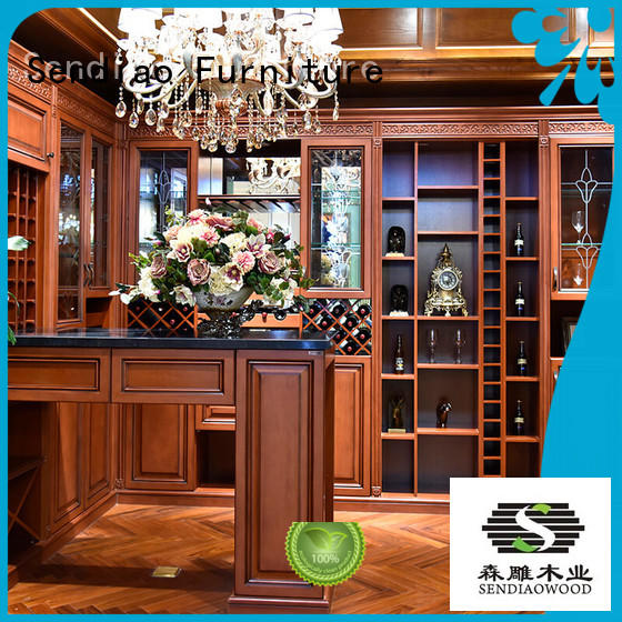 Sendiao Furniture red solid wood wine cabinet New products Fivestar Hotel