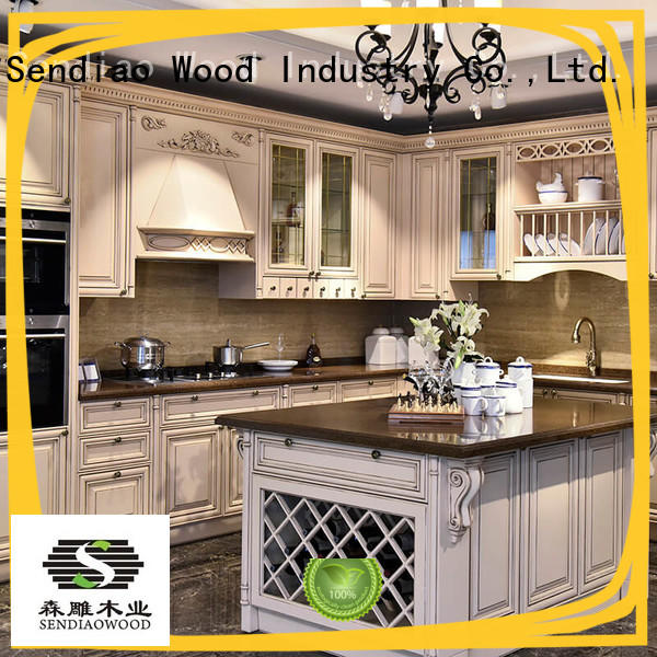 Sendiao Furniture Promotion custom wood kitchen cabinets luxury Fivestar Hotel