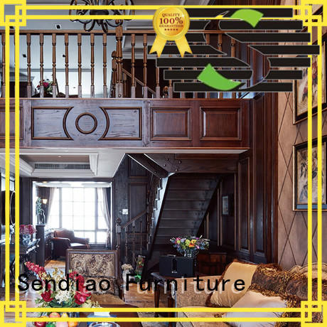 Sendiao Furniture classical wooden spiral staircase The latest generation A living room
