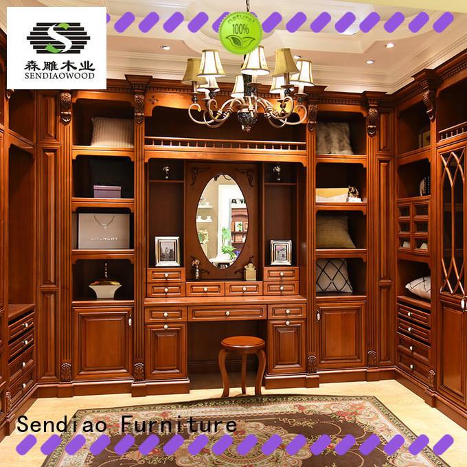 Sendiao Furniture classical wooden wardrobe closet Simplicity Bedroom