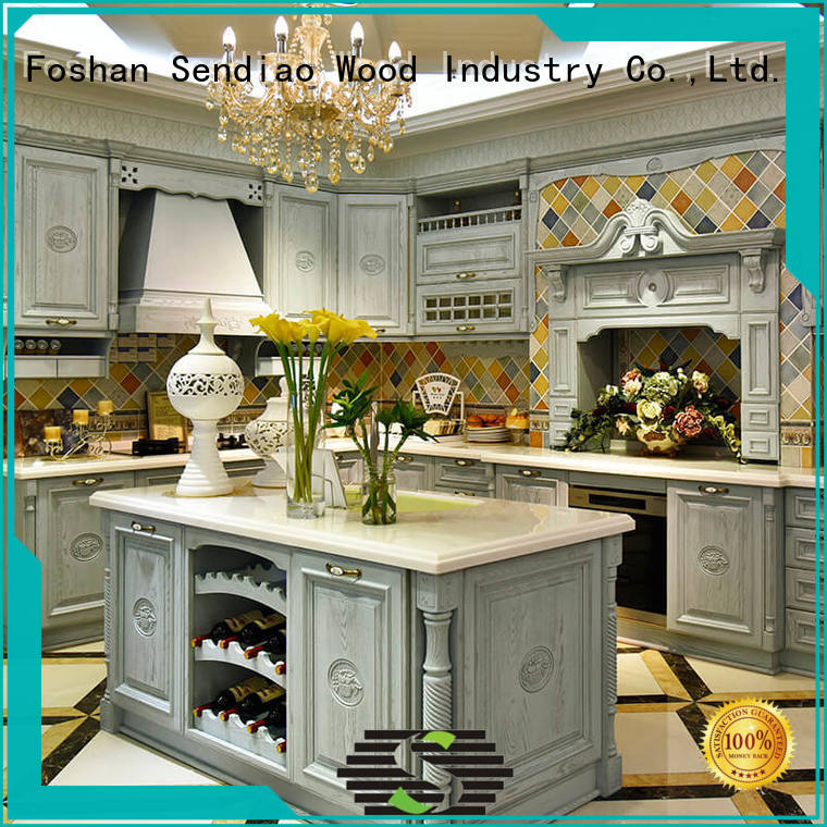 Custom real wood kitchen cabinets design company exhibition hall