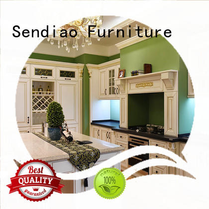 design solid wood kitchen cupboards french Four Star Hotel Sendiao Furniture