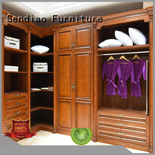 artificial wooden wardrobe with mirror wooden Sendiao Furniture company