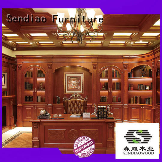 room study solid handcarved black bookcase Sendiao Furniture Brand