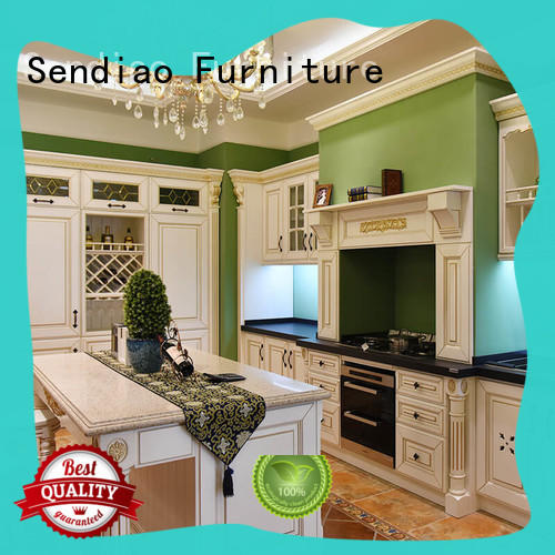 sdk08 solid wood kitchen cabinets American style Bedroom Sendiao Furniture