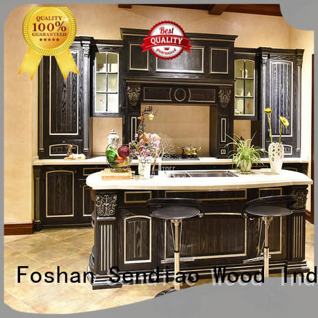 Latest real wood kitchen cabinets modern Suppliers chateau