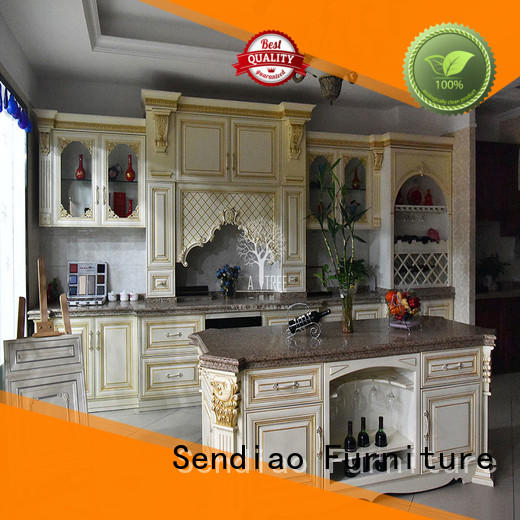 Sendiao Furniture luxury real wood kitchen cabinets manufacturers three-star hotel
