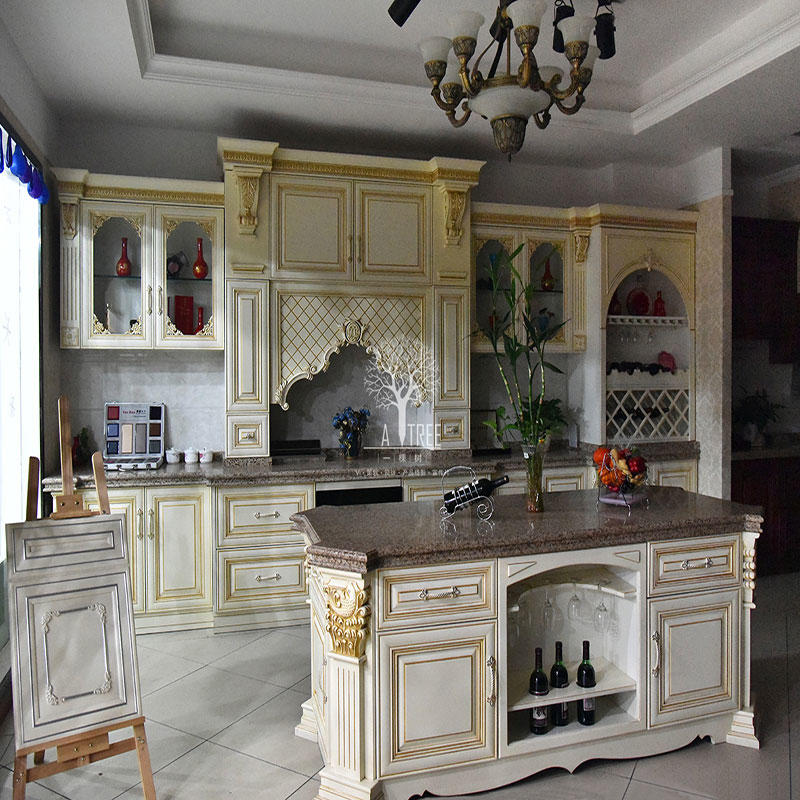 French Style Custom Design White Solid Wood Kitchen Cabinet SDK07