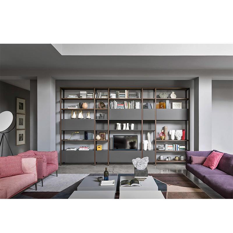 Modern living room home furniture wood shelf, metal wood cabinet bookshelves divider, library book shelf bookcase