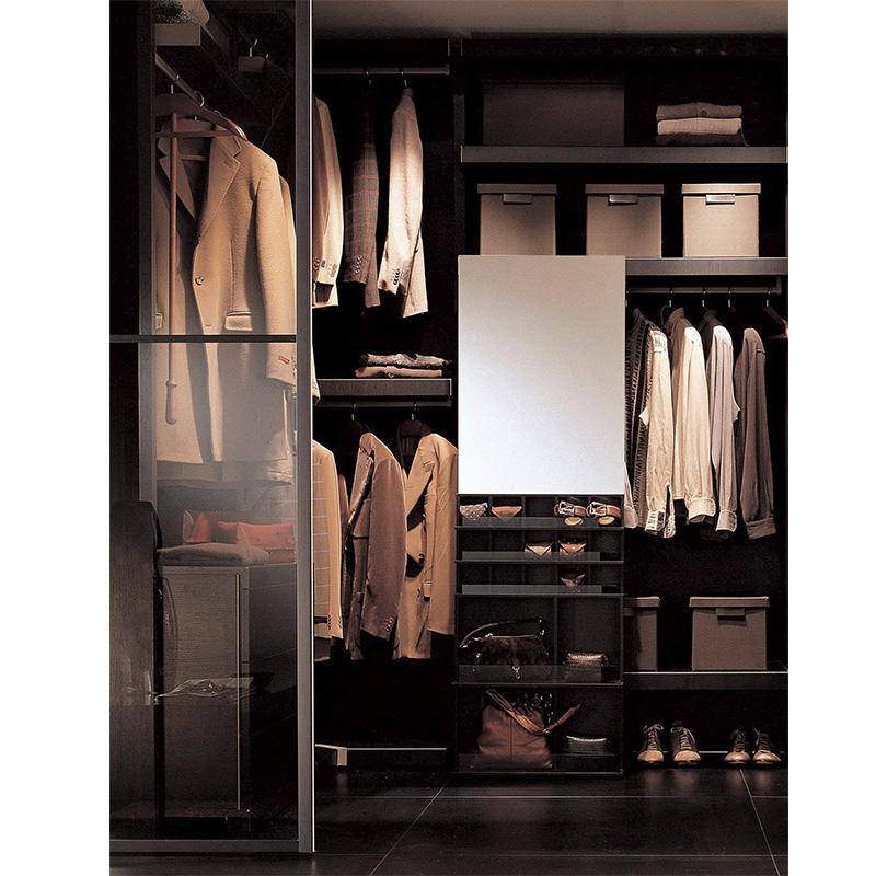 Modern bedroom design aluminum glass door wardrobe,custom walk in closet