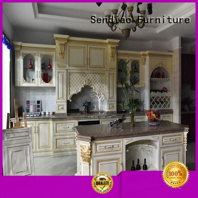 Top solid wood kitchen cabinets sdk04 Supply four-star hotel