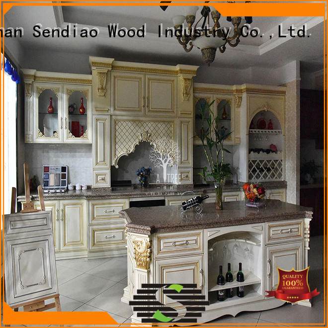 Latest wood kitchen cabinets modern Suppliers exhibition hall
