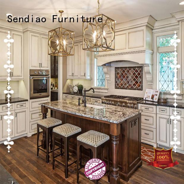 sdk06 solid wood kitchen cupboards fashion Three-star Hotel Sendiao Furniture