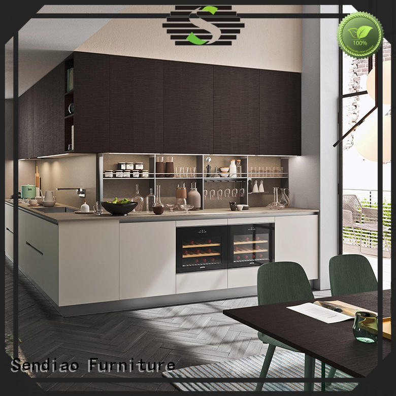 Custom real wood kitchen cabinets white Suppliers four-star hotel