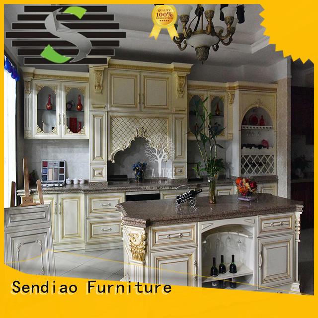 solid wood kitchen cupboards sdk08 Fivestar Hotel Sendiao Furniture