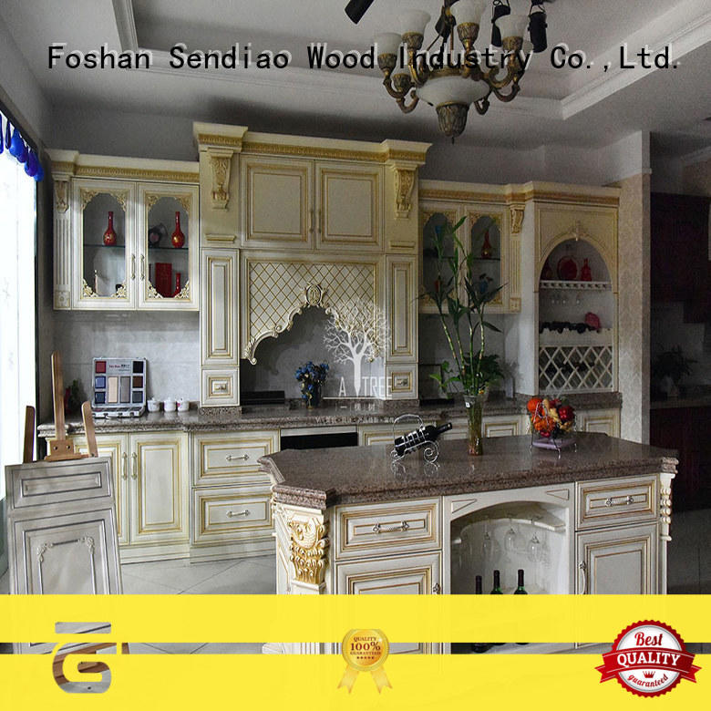 style solid wood kitchen cabinets sdk04 Exhibition hall Sendiao Furniture