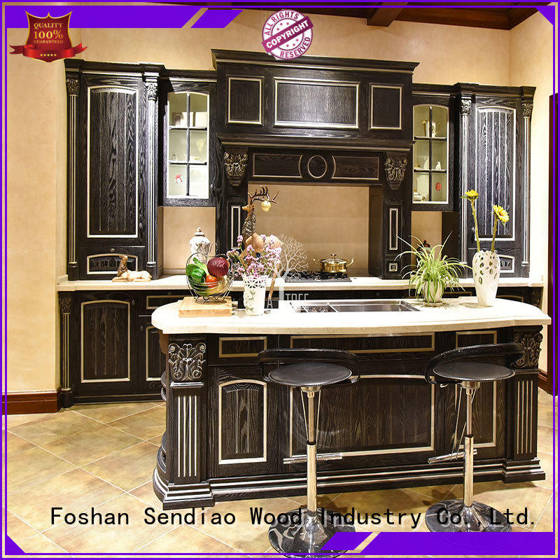 Sendiao Furniture sdk10 real wood kitchen cabinets low price Chateau