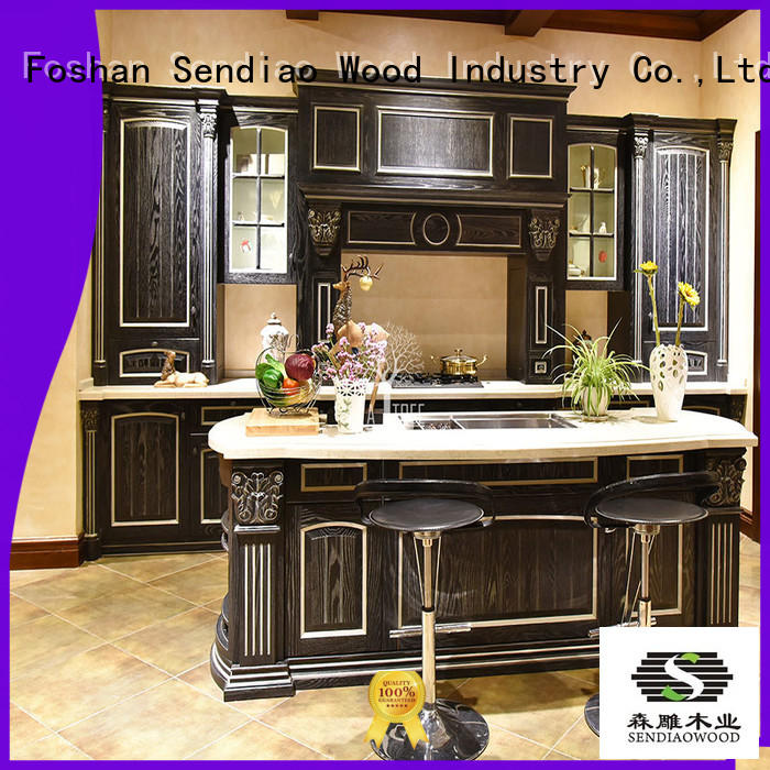 Sendiao Furniture classical hardwood kitchen cabinets Simplicity Three-star Hotel