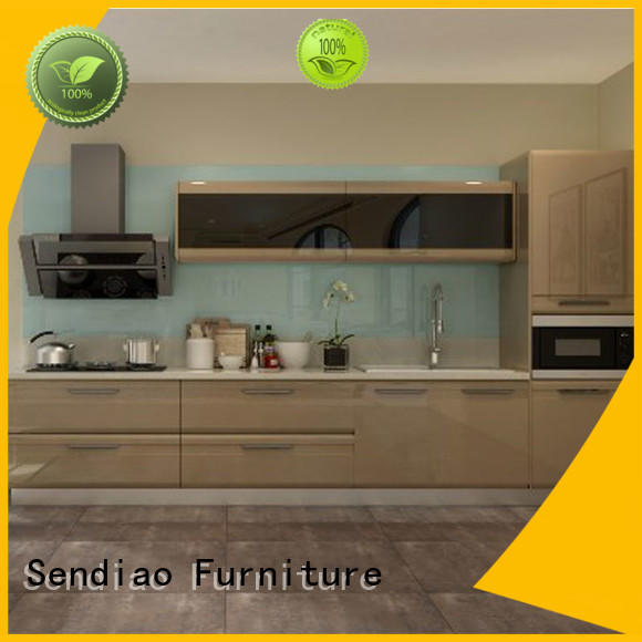 Sendiao Furniture classical real wood kitchen cabinets for business exhibition hall
