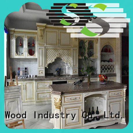 Latest wooden kitchen cupboards sdk04 factory a living room